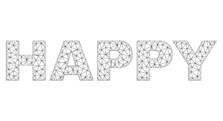 Mesh vector HAPPY text. Abstract lines and dots are organized into HAPPY black carcass symbols. Linear carcass 2D polygonal mesh in vector format.