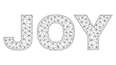 Mesh vector JOY text. Abstract lines and dots form JOY black carcass symbols. Linear carcass flat polygonal mesh