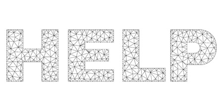 Mesh vector HELP text caption. Abstract lines and dots are organized into HELP black carcass symbols. Linear carcass flat polygonal mesh