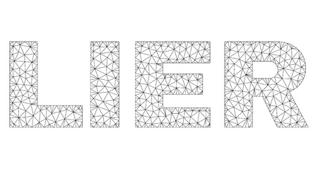 Mesh vector LIER text. Abstract lines and points form LIER black carcass symbols. Linear carcass flat polygonal mesh 일러스트