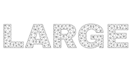 Mesh vector LARGE text caption. Abstract lines and points are organized into LARGE black carcass symbols. Wire carcass flat polygonal mesh