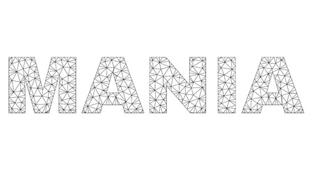 Mesh vector MANIA text. Abstract lines and points form MANIA black carcass symbols. Linear carcass 2D polygonal mesh