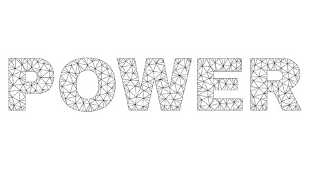 Mesh vector POWER text. Abstract lines and spheric points are organized into POWER black carcass symbols. Wire carcass 2D polygonal mesh in vector format.