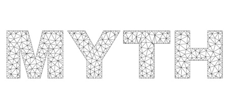 Mesh vector MYTH text. Abstract lines and small circles form MYTH black carcass symbols. Wire carcass 2D polygonal mesh