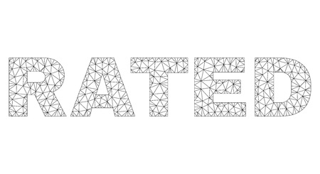 Mesh vector RATED text label. Abstract lines and small circles form RATED black carcass symbols. Linear carcass flat polygonal mesh Illustration
