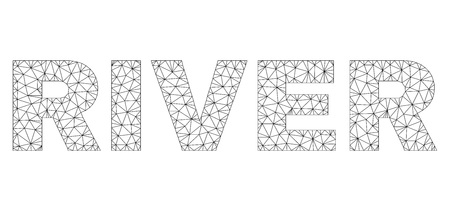 Mesh vector RIVER text. Abstract lines and dots form RIVER black carcass symbols. Wire frame 2D polygonal mesh