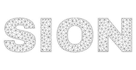 Mesh vector SION text. Abstract lines and small circles are organized into SION black carcass symbols. Linear carcass 2D polygonal network in vector format. Imagens - 123548826