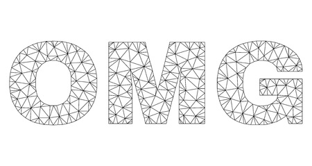 Mesh vector OMG text label. Abstract lines and spheric points form OMG black carcass symbols. Wire carcass flat triangular mesh in vector EPS format. Illustration
