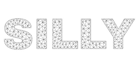 Mesh vector SILLY text. Abstract lines and small circles form SILLY black carcass symbols. Wire frame