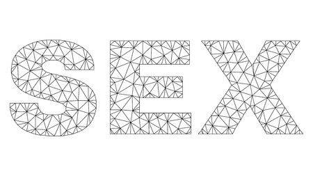 Mesh vector SEX text. Abstract lines and points form SEX black carcass symbols. Wire carcass 2D polygonal mesh