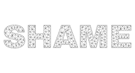 Mesh vector SHAME text. Abstract lines and circle dots form SHAME black carcass symbols. Linear frame flat triangular mesh in vector format. 스톡 콘텐츠 - 123545515
