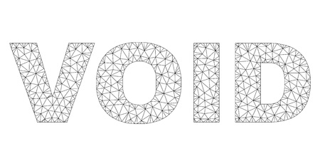 Mesh vector VOID text. Abstract lines and points are organized into VOID black carcass symbols. Linear frame 2D triangular mesh