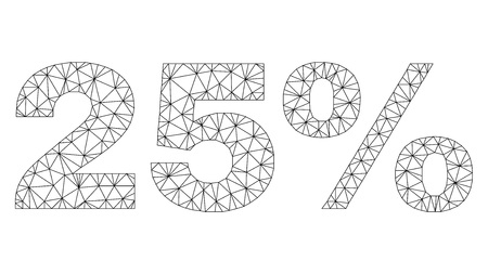 Mesh vector 25% text label. Abstract lines and points form 25% black carcass symbols. Linear carcass flat triangular mesh