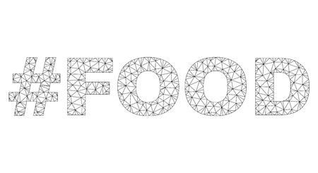Mesh vector #FOOD text. Abstract lines and small circles form #FOOD black carcass symbols. Linear carcass flat polygonal mesh in vector format.