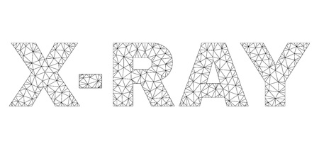 Mesh vector X-RAY text. Abstract lines and circle dots are organized into X-RAY black carcass symbols. Wire carcass 2D triangular mesh