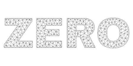 Mesh vector ZERO text. Abstract lines and circle dots are organized into ZERO black carcass symbols. Linear carcass flat polygonal mesh