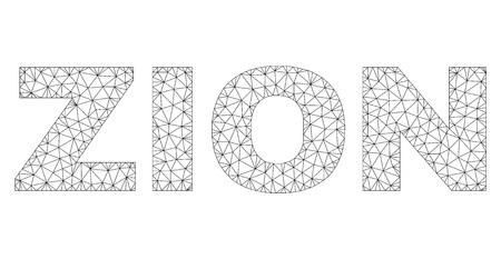 Mesh vector ZION text caption. Abstract lines and spheric points are organized into ZION black carcass symbols. Linear carcass flat polygonal mesh in vector format. Imagens - 123545010