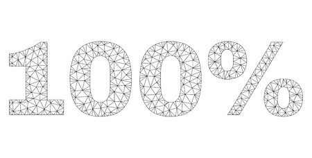 Mesh vector 100% text. Abstract lines and dots form 100% black carcass symbols. Linear carcass flat triangular mesh