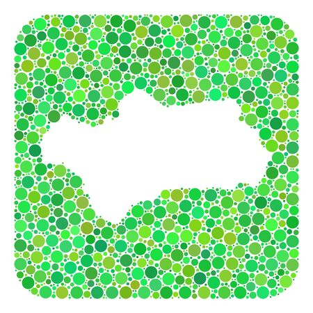 Map of Andalusia Province collage created with rounded rectangle and hole. Vector map of Andalusia Province collage of circle spots in variable sizes and green color tinges.