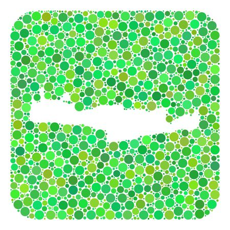 Map of Crete Island mosaic designed with rounded rectangle and hole. Vector map of Crete Island mosaic of dots in different sizes and green color hues. Created for political and abstract projects.