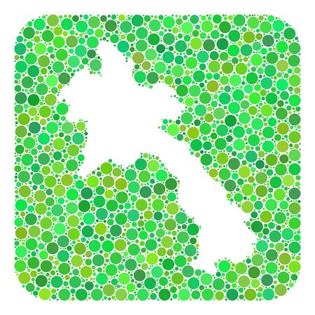 Map of Laos mosaic designed with rounded rectangle and cut out shape. Vector map of Laos mosaic of round dots in variable sizes and green color tints. Designed for patriotic and abstract purposes. Ilustração