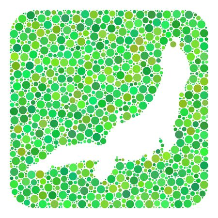Map of Honshu Island mosaic created with rounded rectangle and cut out shape. Vector map of Honshu Island mosaic of round dots in various sizes and green color tinges.