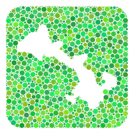 Map of Gansu Province collage designed with rounded rectangle and stencil. Vector map of Gansu Province collage of round dots in different sizes and green color tones.
