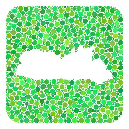 Map of Meghalaya State mosaic designed with rounded rectangle and cut out shape. Vector map of Meghalaya State mosaic of circle elements in various sizes and green shades.