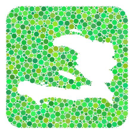 Map of Haiti collage created with rounded rectangle and subtracted space. Vector map of Haiti collage of circle spots in variable sizes and green color tinges. Ilustración de vector
