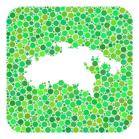 Map of Saint John Island collage created with rounded rectangle and hole. Vector map of Saint John Island collage of circle spots in various sizes and green color tones.