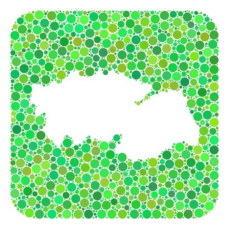 Map of Toledo Province mosaic designed with rounded rectangle and subtracted shape. Vector map of Toledo Province mosaic of circle elements in variable sizes and green color tints.