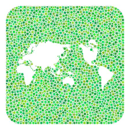 Map of Earth collage created with rounded rectangle and subtracted shape. Vector map of Earth collage of circles in various sizes and green shades. Created for political and abstract projects.
