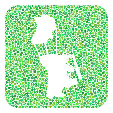 Map of Macau mosaic created with rounded rectangle and hole. Vector map of Macau composition of spheric blots in different sizes and green color tones. Created for patriotic and abstract promotion.