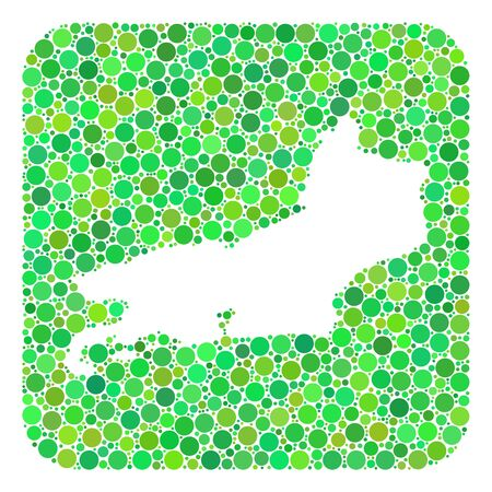 Map of Piaui State collage created with rounded rectangle and cut out shape. Vector map of Piaui State collage of spheric dots in variable sizes and green shades.