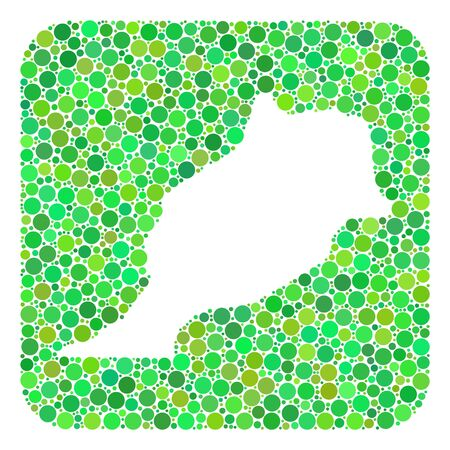 Map of Morocco mosaic designed with rounded rectangle and subtracted shape. Vector map of Morocco collage of circles in various sizes and green color tints.