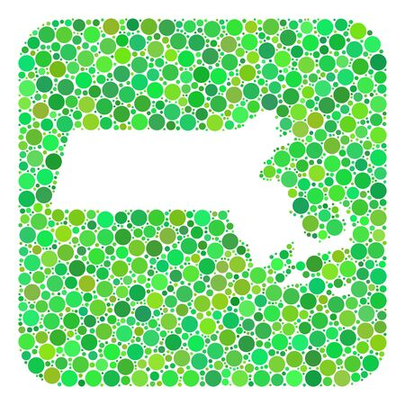 Map of Massachusetts State mosaic created with rounded rectangle and cut out shape. Vector map of Massachusetts State mosaic of spheric dots in variable sizes and green color tones. 向量圖像