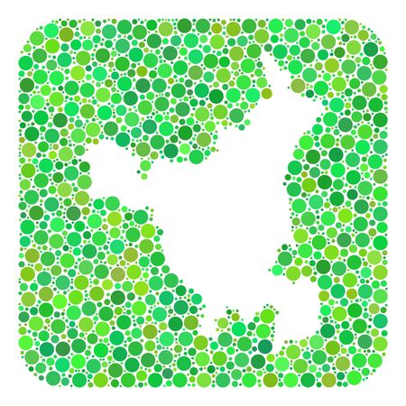 Map of Haryana State collage composed with rounded rectangle and subtracted space. Vector map of Haryana State collage of spheric blots in variable sizes and green color tints.