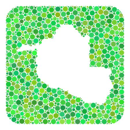 Map of Rondonia State collage designed with rounded rectangle and carved shape. Vector map of Rondonia State mosaic of dots in variable sizes and green color tinges. Ilustración de vector