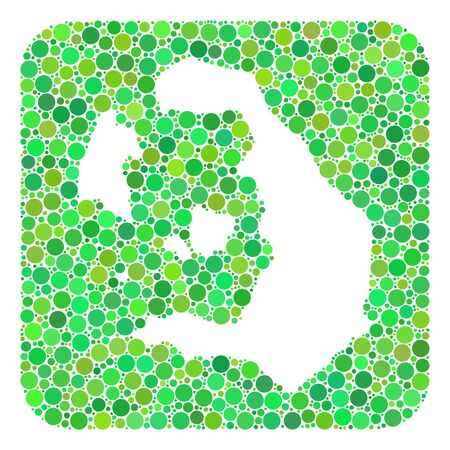 Map of Santorini Island mosaic designed with rounded rectangle and stencil. Vector map of Santorini Island mosaic of circle elements in various sizes and green color tinges.