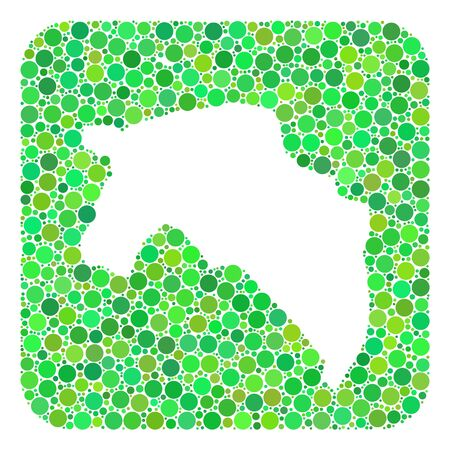 Map of Groningen Province mosaic composed with rounded rectangle and subtracted space. Vector map of Groningen Province mosaic of round items in different sizes and green color tones. Ilustración de vector