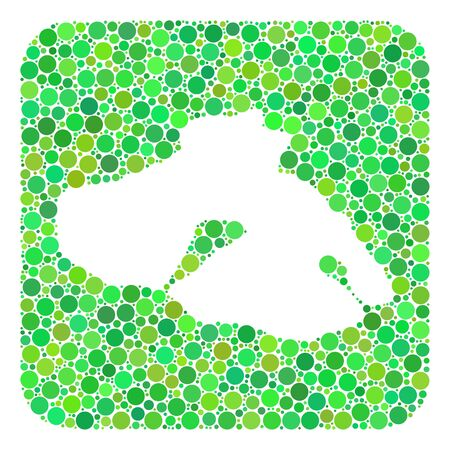Map of Lesbos Island mosaic created with rounded rectangle and cut out shape. Vector map of Lesbos Island mosaic of circles in variable sizes and green color tints. Ilustración de vector