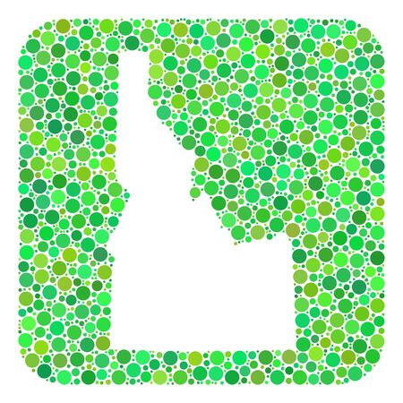 Map of Idaho State mosaic composed with rounded rectangle and cut out shape. Vector map of Idaho State mosaic of dots in different sizes and green color tinges.