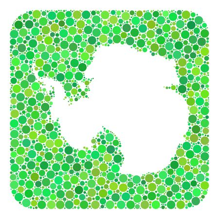 Map of Antarctica mosaic created with rounded rectangle and stencil. Vector map of Antarctica collage of spheric blots in various sizes and green color hues.