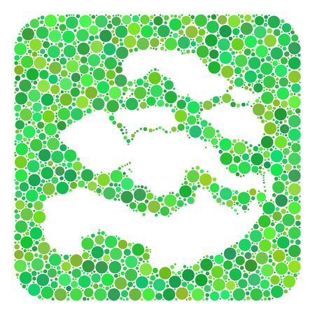 Map of Zeeland Province mosaic created with rounded rectangle and cut out shape. Vector map of Zeeland Province mosaic of round dots in various sizes and green shades.