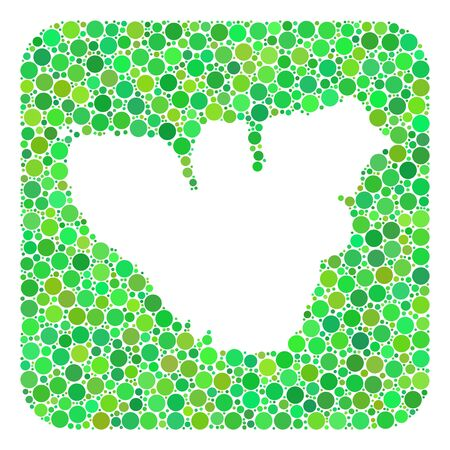 Map of Moorea Island mosaic created with rounded rectangle and subtracted shape. Vector map of Moorea Island mosaic of dots in different sizes and green color tints. Ilustración de vector