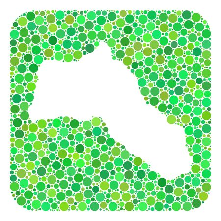 Map of Kurdistan mosaic created with rounded rectangle and hole. Vector map of Kurdistan mosaic of circle elements in various sizes and green color hues. Çizim