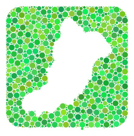 Map of La Graciosa Island mosaic created with rounded rectangle and subtracted space. Vector map of La Graciosa Island mosaic of circles in different sizes and green color tinges. Vettoriali