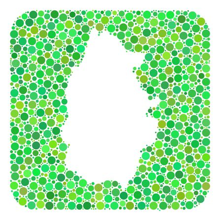 Map of Lugo Province collage designed with rounded rectangle and hole. Vector map of Lugo Province collage of circle spots in various sizes and green color tones.