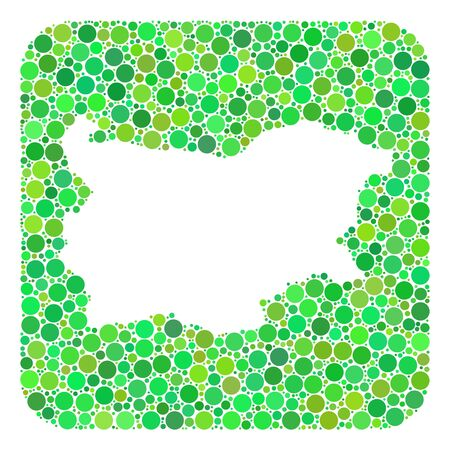 Map of Bulgaria collage designed with rounded rectangle and cut out shape. Vector map of Bulgaria collage of circles in different sizes and green shades.
