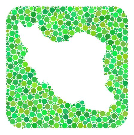 Map of Iran mosaic formed with rounded rectangle and cut out shape. Vector map of Iran mosaic of circles in variable sizes and green shades. Created for patriotic and abstract projects.
